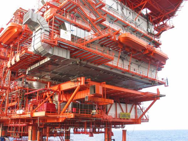 Modulo alloggi e eliporto Piattaforma Sabratha Agip Gas